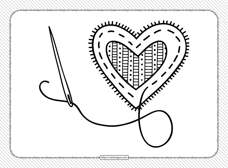 Valentine's Day Sewing Heart Coloring Page