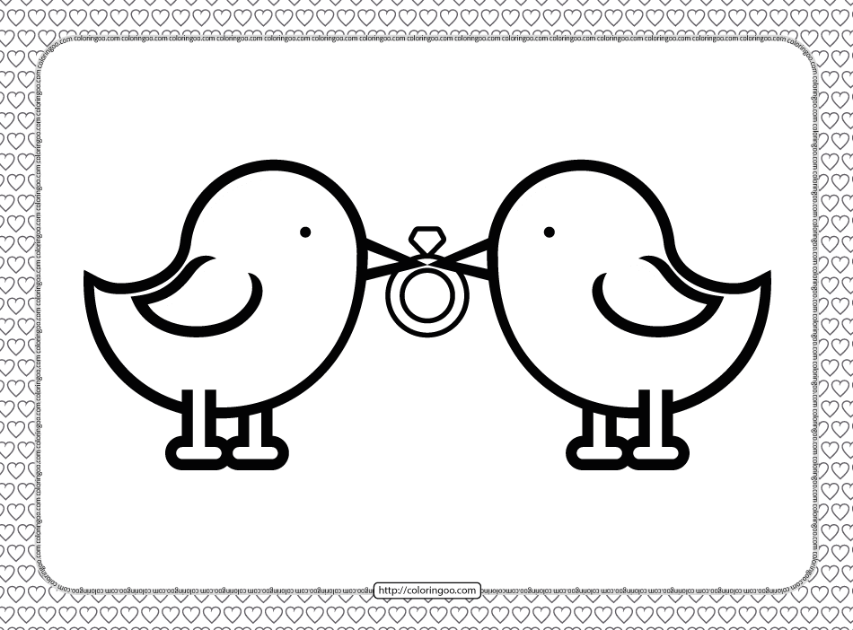 Valentine's Day Wedding Ring Coloring Page