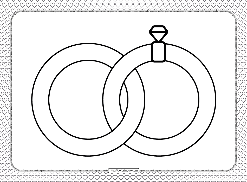 Valentine's Day Wedding Rings Coloring Page