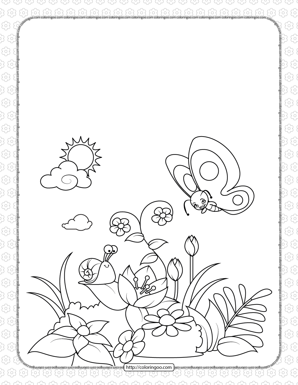A Snail and a Butterfly on a Flowering Glade