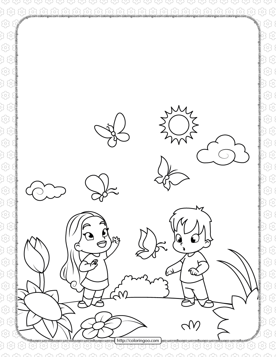 Boy and Girl Admiring Butterflies Coloring Page