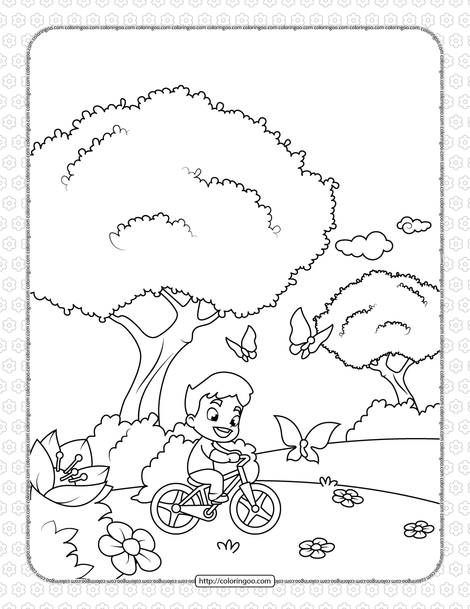 Boy on a Bicycle Chasing Butterflies Coloring Page