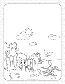 Boy Watering Flowers and Cute Rabbit Coloring Page