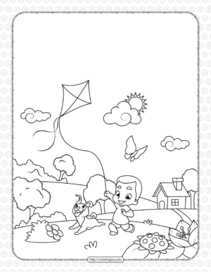 Boy with a Dog Flying a Kite Coloring Page