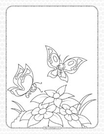 Cheerful Butterflies on the Flower Coloring Page
