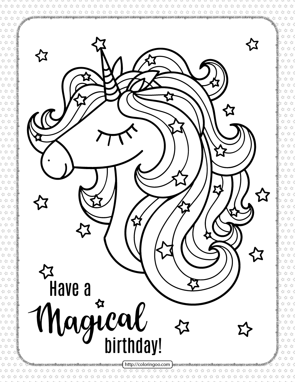 Have a Magical Birthday Unicorn Coloring Page