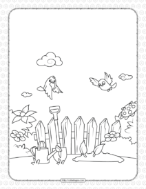 Printable Birds Fly Over The Garden Coloring Page