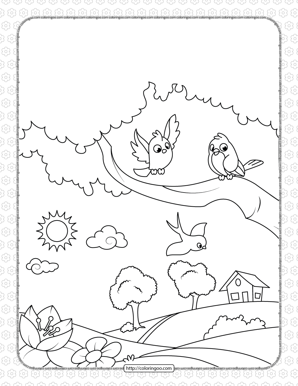 Printable Birds in the Village Coloring Page