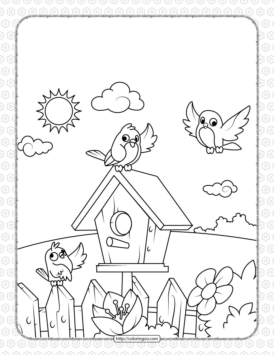Printable Birds near a Birdhouse Coloring Page