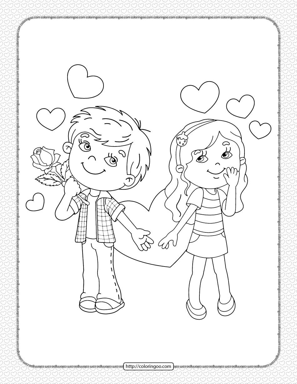 Printable Boy and Girl Valentine's Day Coloring Page
