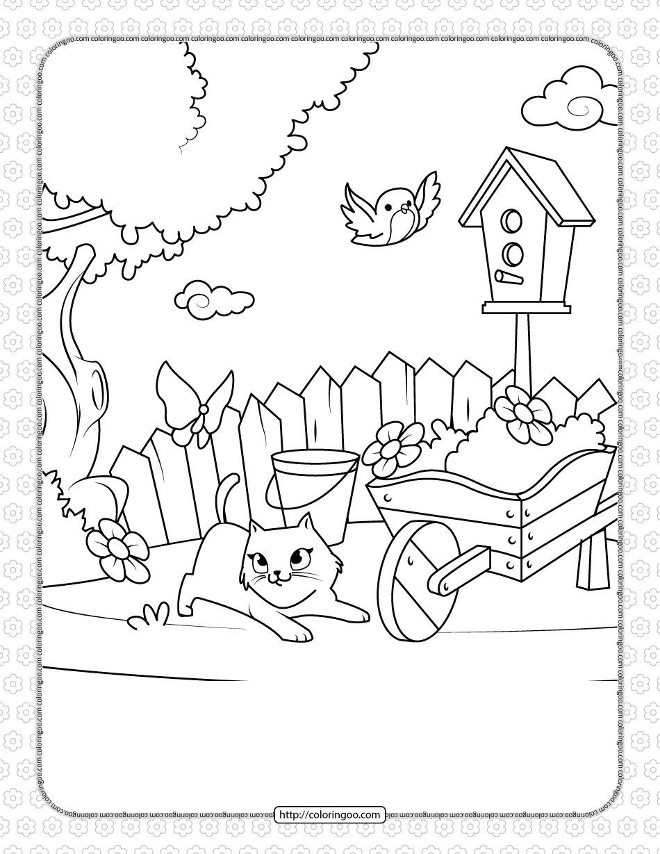 Printable Cat Playing with a Butterfly Coloring Page