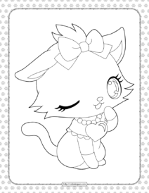 Printable Cute Cat Coloring Page for Girls