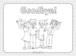 Printable Goodbye Pdf Coloring Page