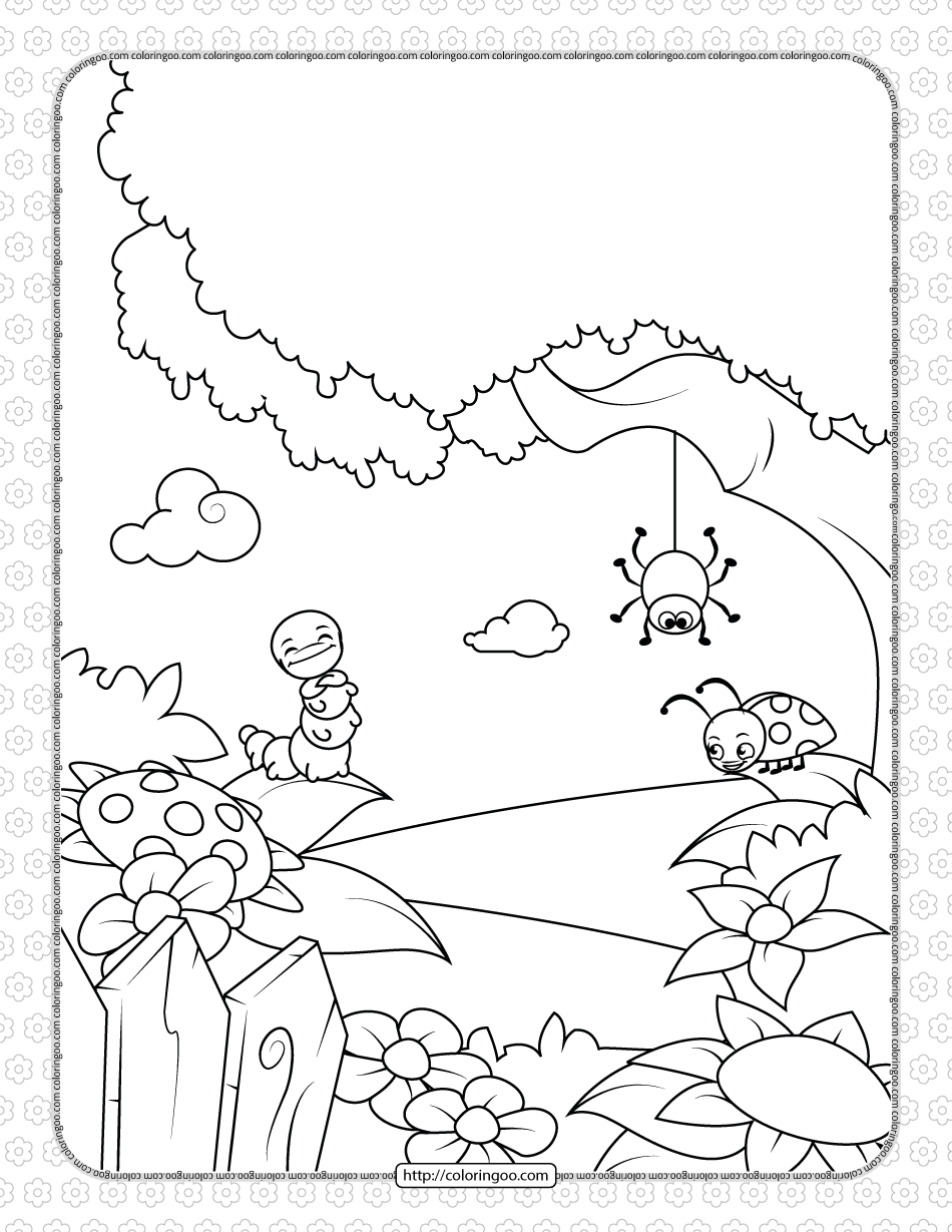 Printable Lovely Insects Coloring Page
