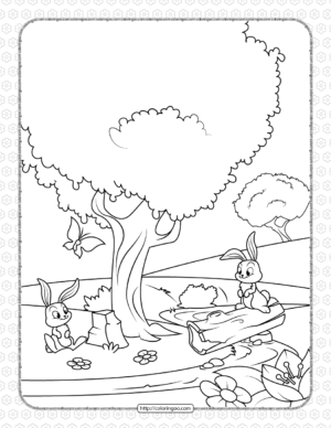 Printable Rabbits in the Spring Coloring Page
