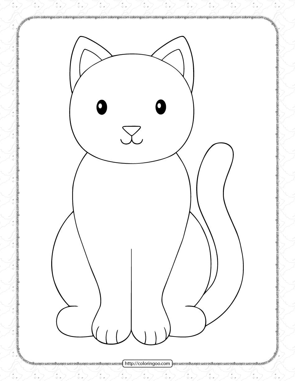 Printable Simple Cat Coloring Page for Kids