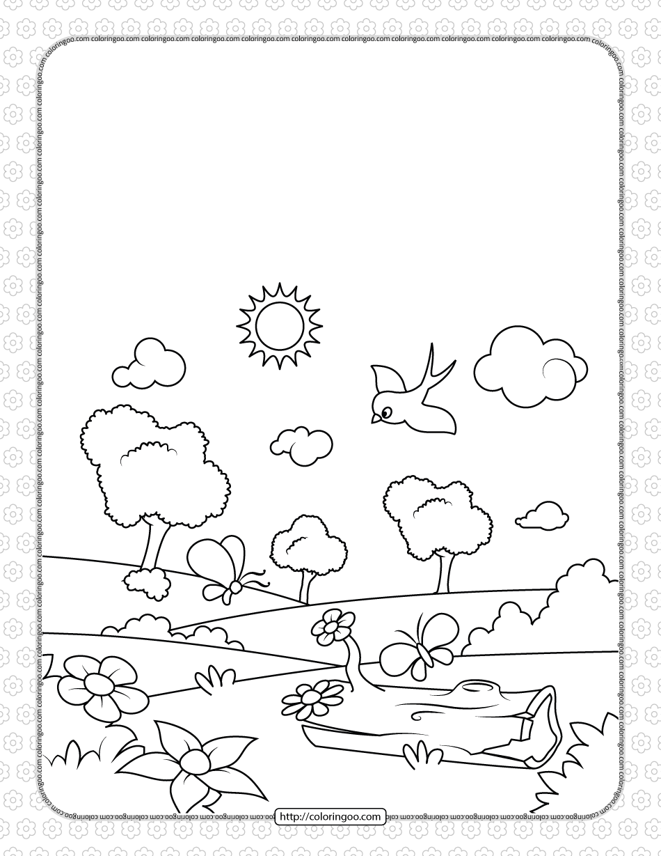 Printable Spring Time Pdf Coloring Pages