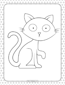 Printable Surprised Cat Coloring Page