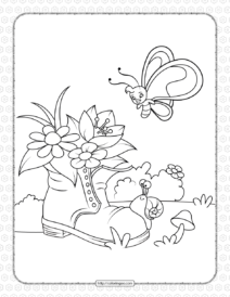 Snail, Butterfly and Old Shoe with Flowers Coloring Page