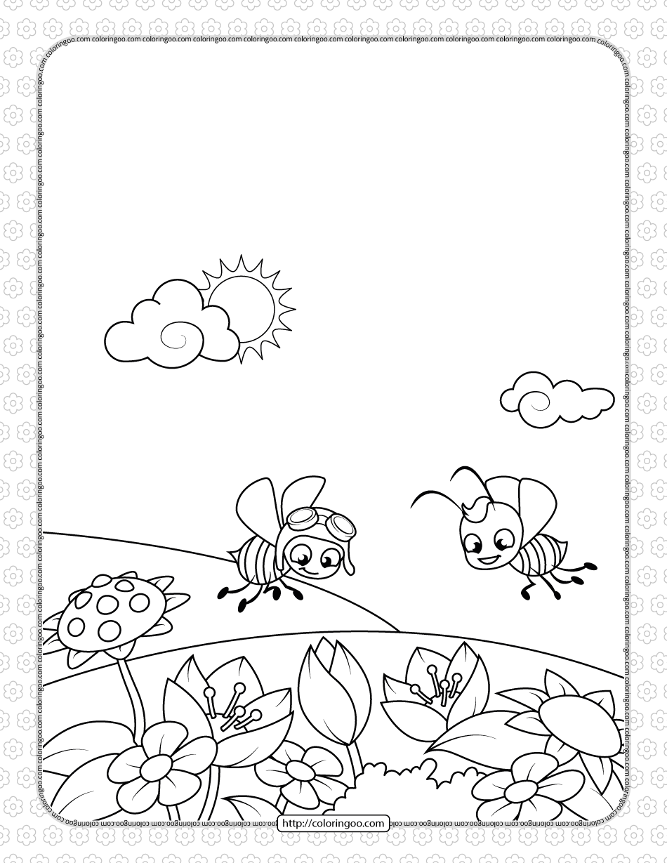 Two Bees Fly Over a Flowering Meadow Coloring Page