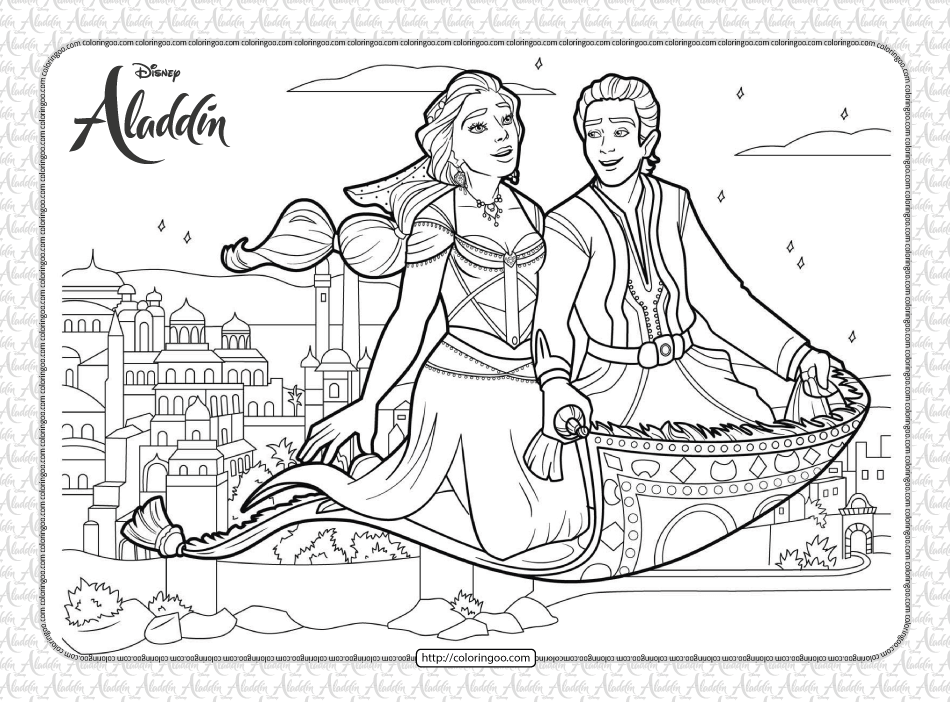 Aladdin and Jasmine on Magic Carpet Coloring Page