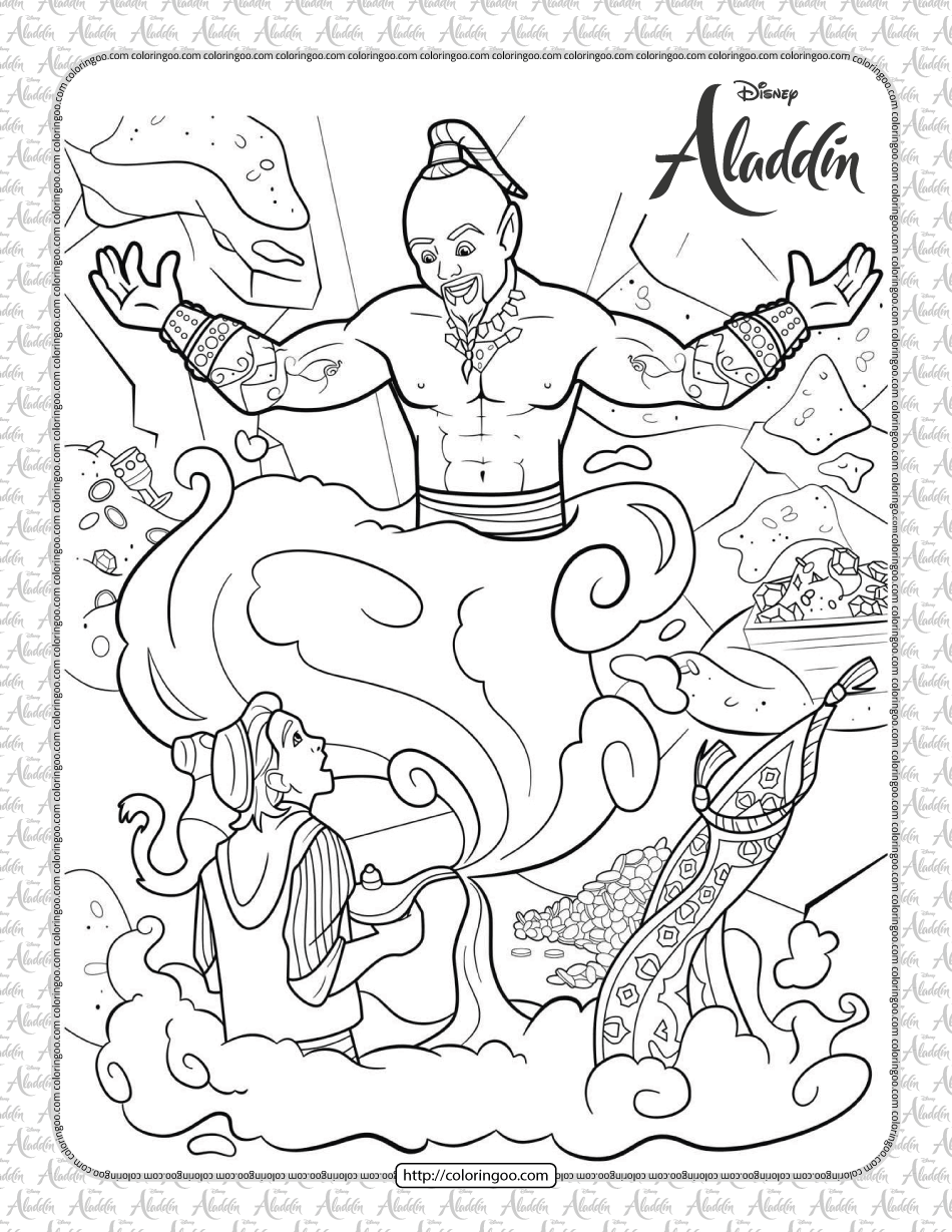 Aladdin Released Genie from the Lamp Coloring