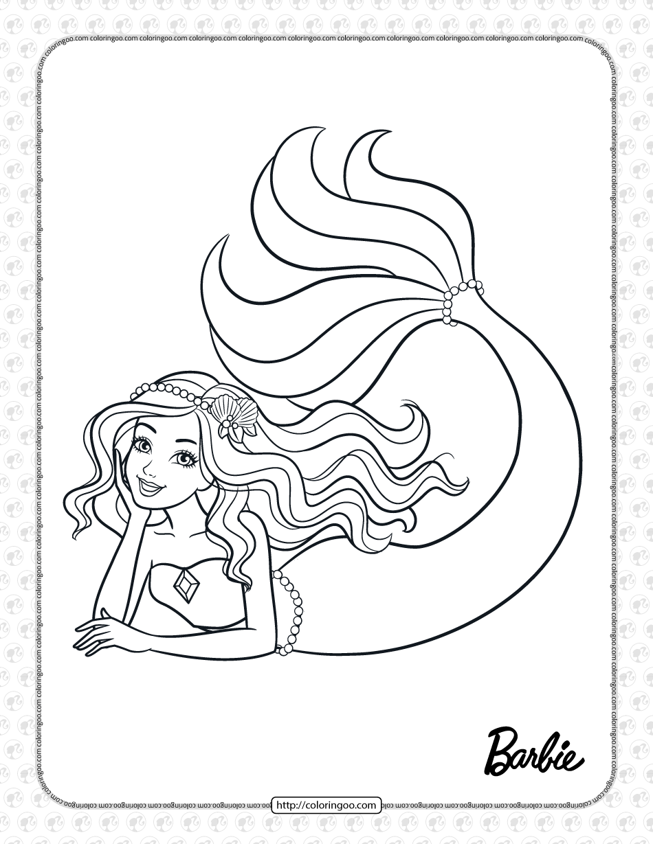 Decorate The Mermaid Tail Barbie Coloring Page