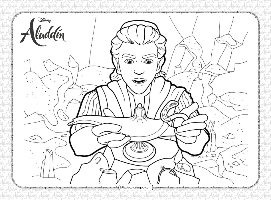 Disney Aladdin Finds the Lamp Coloring Page