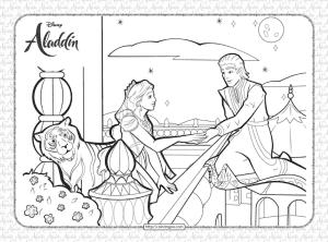 Disney Aladdin Invites Princess Jasmine Coloring Page
