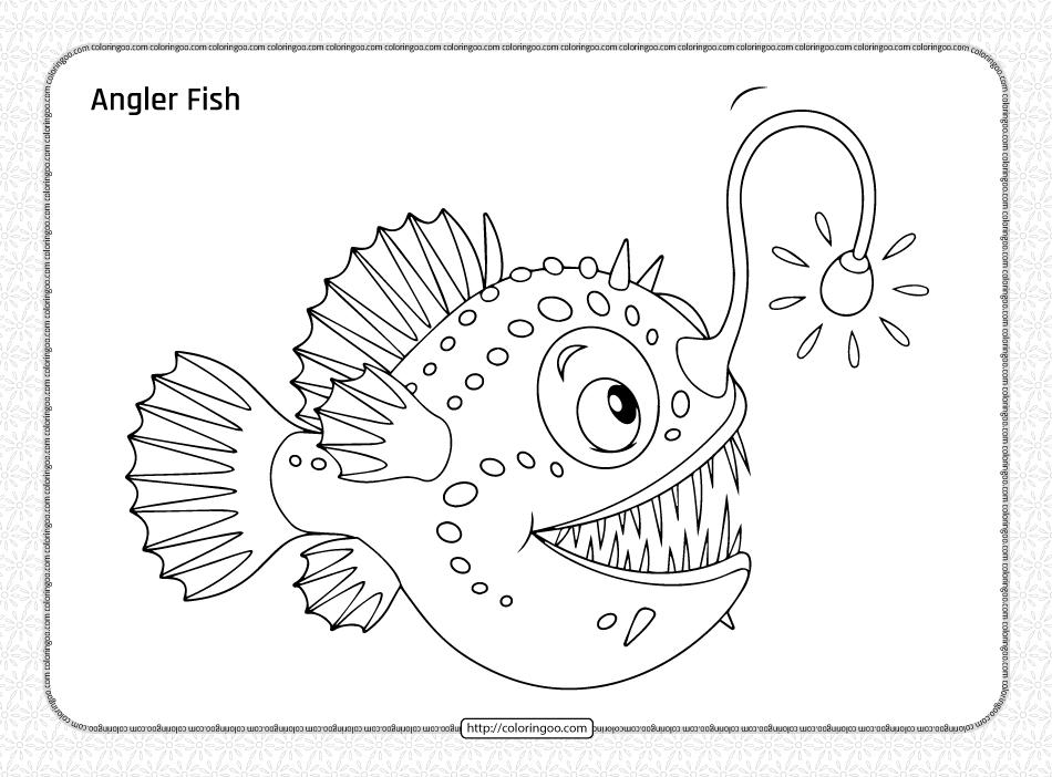 Free Printable Angler Fish Coloring Page