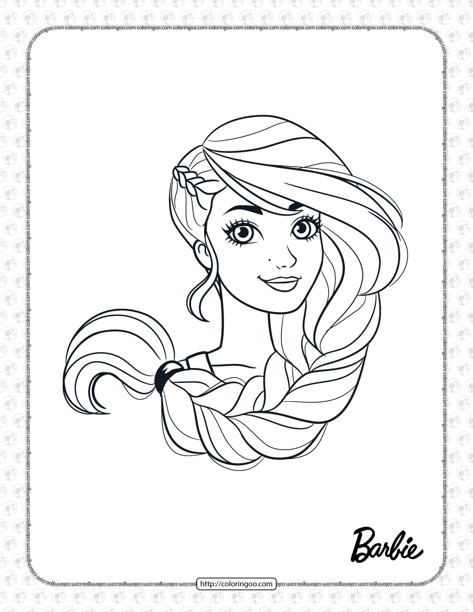 Free Printable Barbie Face Coloring Page