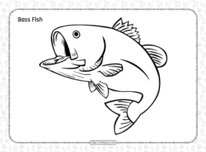 Free Printable Bass Fish Coloring Page