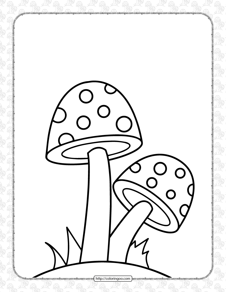 Free Printable Cute Mushrooms Coloring Sheet