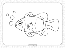 Free Printable Red Clownfish Coloring Page