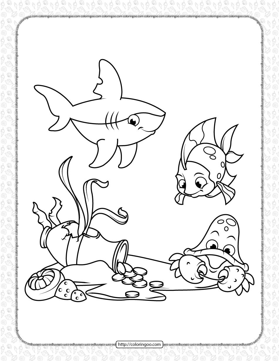 Free Printable Sea Creatures Coloring Page