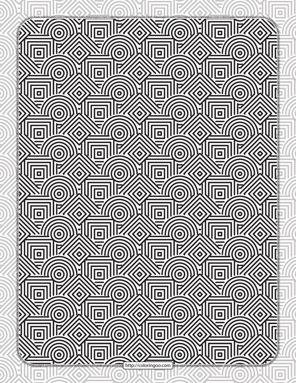 Printable Squares & Circles Pattern Coloring Sheet