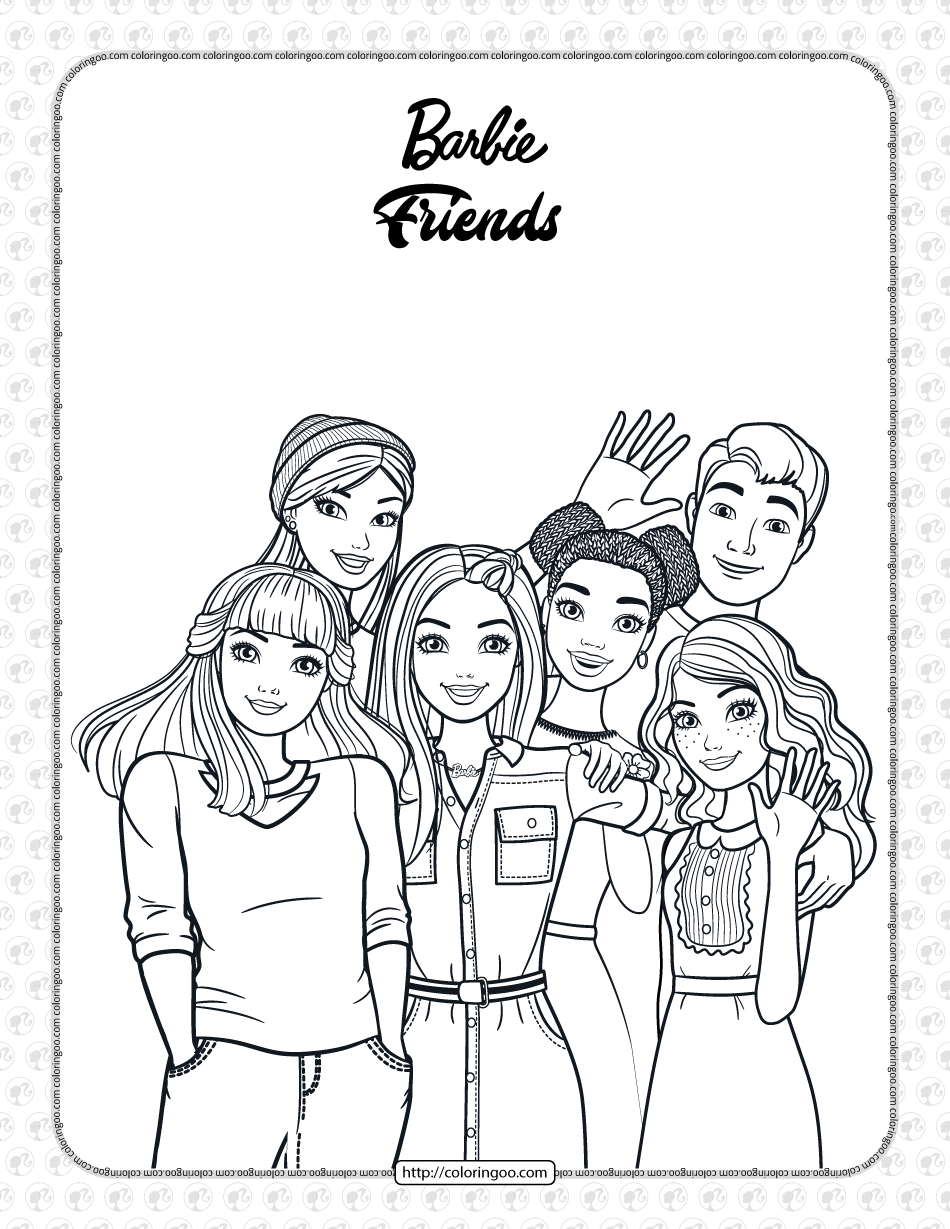 Free Printables Barbie and Friends Coloring Page