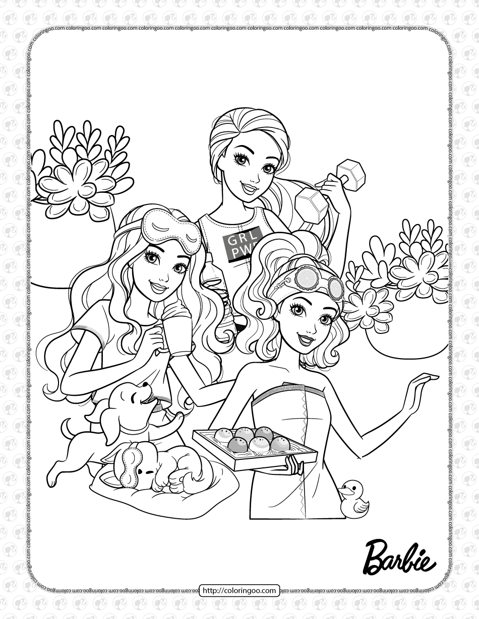 Free Printables Barbie and Friends Coloring Sheet