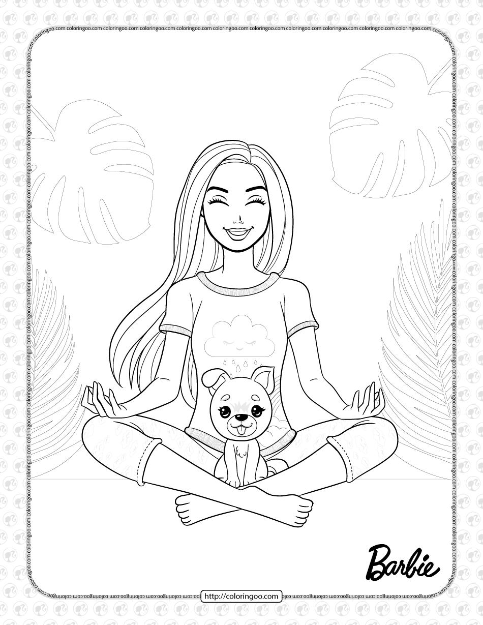 Free Printables Barbie Meditating Coloring Page