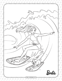 Free Printables Barbie Surfer Coloring Page