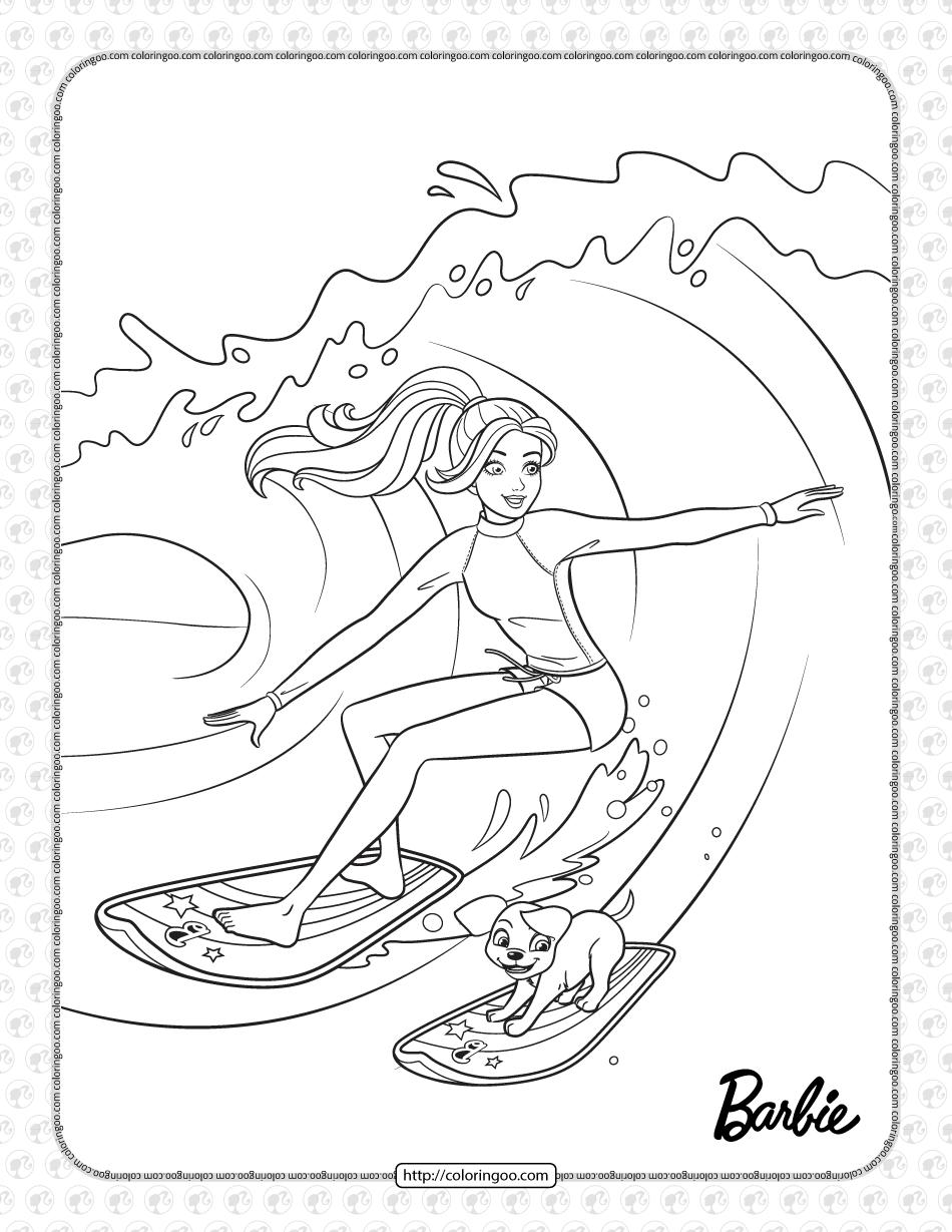 Free Printables Barbie Surfer Coloring Page