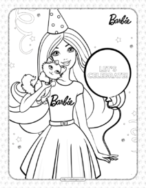 Free Printables Barbie's Birthday Coloring Page