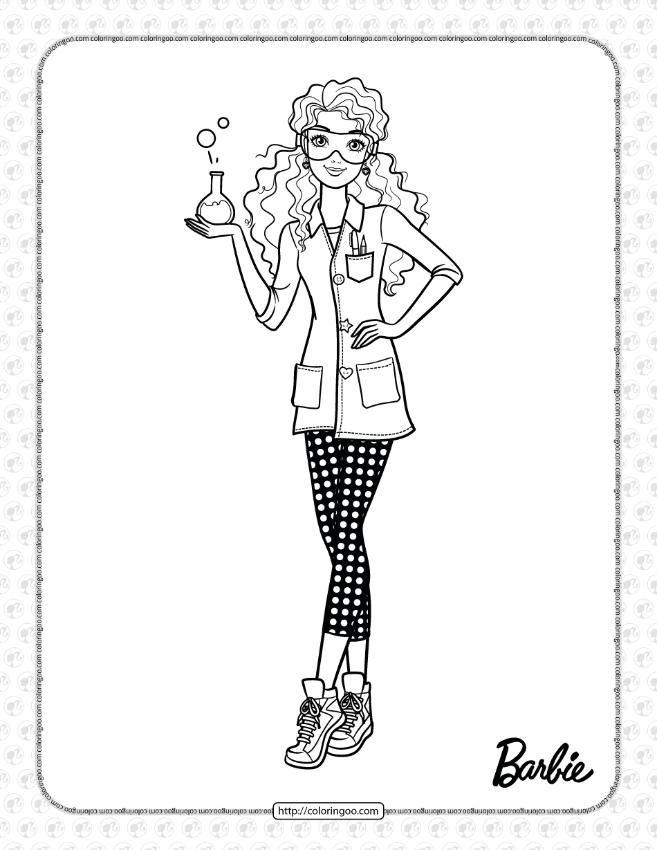 Free Printables Scientist Barbie Coloring Page