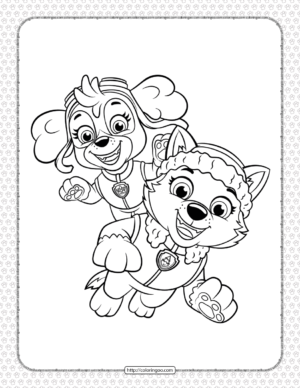 Paw Patrol Skye and Everest Coloring Page
