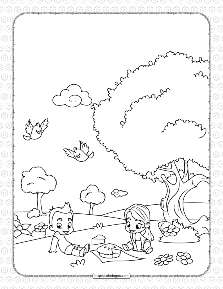 Printable Boy And Girl On A Picnic Coloring Page