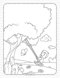 Printable Boy on a Swing Coloring Page