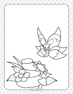 Printable Butterfly Pdf Coloring Pages 02