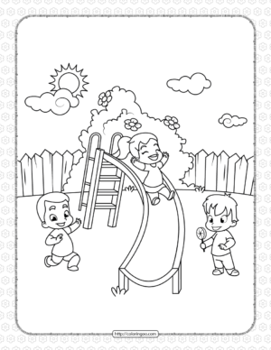 Printable Children in the Park Coloring Page