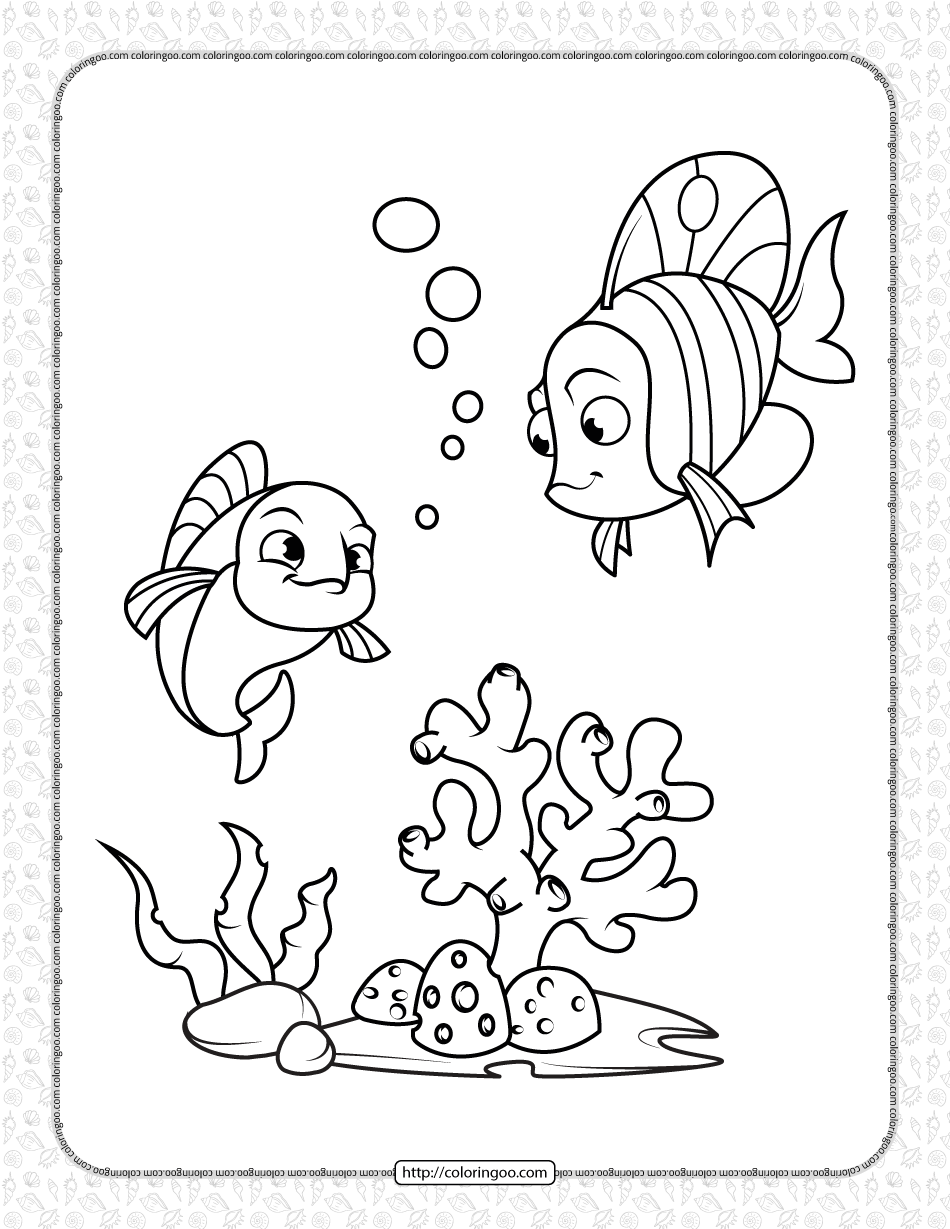 Printable Cute Fishes Under The Sea Coloring Page