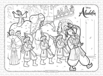 Printable Disney Aladdin and Genie Coloring Page